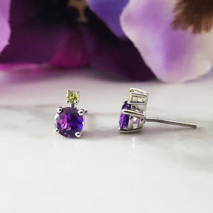 """Peyton"" Sterling Silver Arizona Amethyst and Peridot Studs"