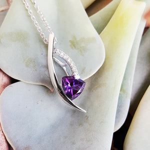 """Tiana"" 14k White Gold Arizona Amethyst Pendant"