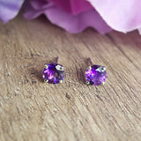 """Kimberly"" Sterling Silver Arizona Amethyst Stud Earrings"