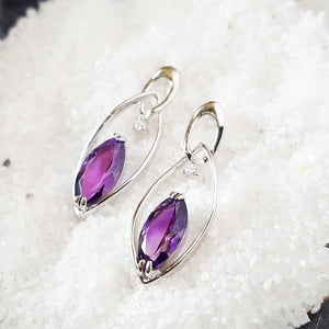 """Gianna"" Sterling Silver Arizona Amethyst Earrings"