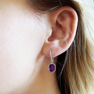 """Karlie"" 14k White Gold Arizona Amethyst Earrings"