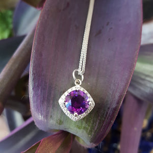 """Angel"" 14K White Gold Arizona Amethyst Pendant"