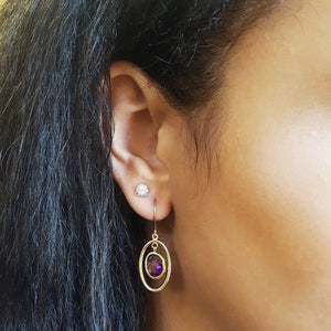 """Sabrina"" 14k Yellow Gold Arizona Amethyst Earrings"