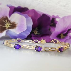 """Anya"" 14k Yellow Gold Arizona Amethyst Bracelet"