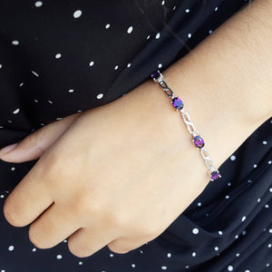 """Anya"" 14K White Gold Arizona Amethyst Bracelet"