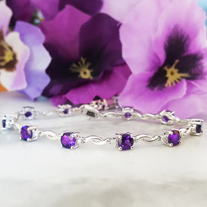 """Jocelyn"" 14k White Gold Arizona Amethyst Bracelet"