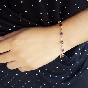 """Jocelyn"" 14k Yellow Gold Arizona Amethyst Bracelet"