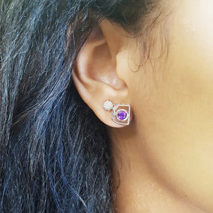 """Desiree"" Sterling Silver Arizona Amethyst Earrings"