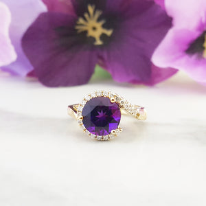 """Maria"" 14k Yellow Gold Arizona Amethyst Ring"