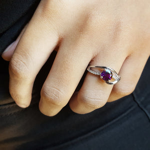 """Delaney"" 14k White Gold Amethyst Ring"