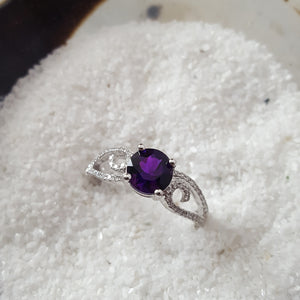 """Layne"" 14k White Gold Amethyst Ring"