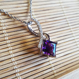 """Valerie"" 14k White Gold Arizona Amethyst Necklace"