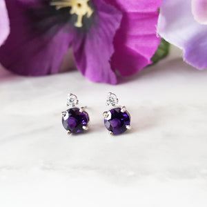 """Demi"" 14K White Gold Amethyst and Diamond Studs"