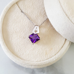 """Brielle"" 14K White Gold Arizona Amethyst Pendant 363096"