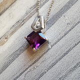 """Brielle"" 14K White Gold Arizona Amethyst Pendant"