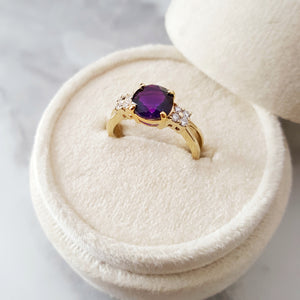 """Macy"" 14K Yellow Gold Arizona Amethyst Ring"