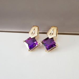 """Karina"" 14k Yellow Gold Arizona Amethyst Earrings"