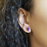 """Kelsey"" 14k White Gold Arizona Amethyst Earrings"