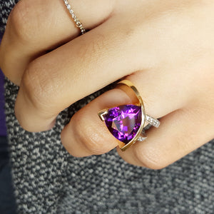 """Breanna"" 14k Yellow Gold Arizona Amethyst Ring"