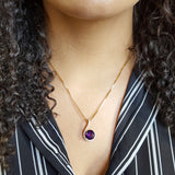 """Crystalin"" 14k Yellow Gold Arizona Amethyst Pendant"