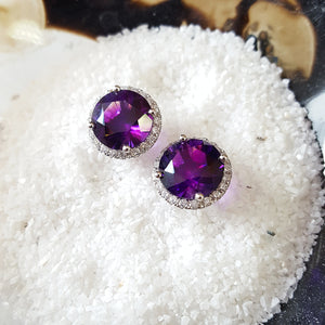 """Alayna"" 14K White Gold AZ Amethyst Earrings"