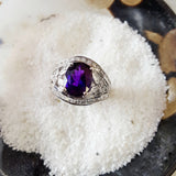 """Ariella"" 14K White Gold Arizona Amethyst Ring"