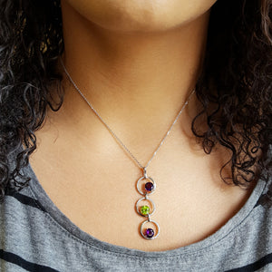 Triple Gem Arizona Amethyst and Peridot Pendant