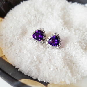 """Jolie"" 14K White Gold Arizona Amethyst Earrings"
