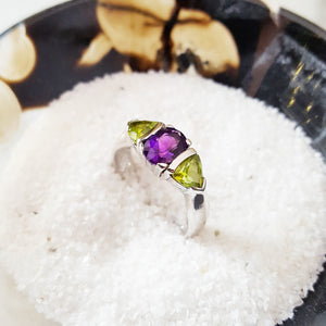 """Lyra"" Sterling Silver Amethyst and Peridot Ring"