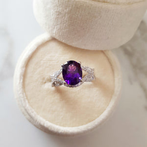 """Aleena"" 14K White Gold Arizona Amethyst Ring"