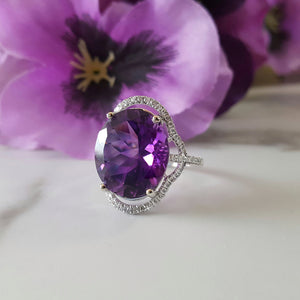 """Thea"" 14K White Gold Arizona Amethyst Ring"