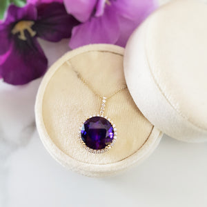 """Blaire"" 14k Yellow Gold Arizona Amethyst Necklace"