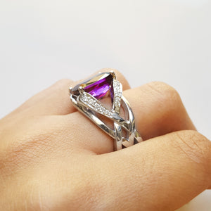 """Sylvia"" 14K White Gold Arizona Amethyst Ring"