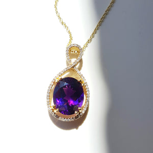 """Annalise"" 14K Yellow Gold Amethyst Pendant"