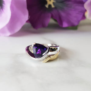 """Lacey"" 14K Two-Tone Gold Arizona Amethyst Ring"