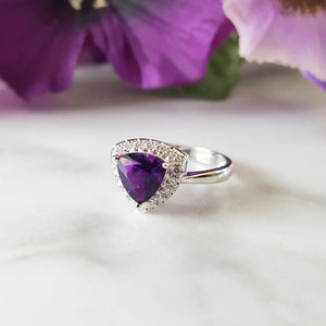 """Annika"" 14K White Gold Arizona Amethyst Ring"