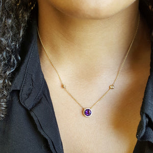 """Camilla"" 14K Yellow Gold Arizona Amethyst Necklace"