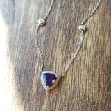 """Camilla"" 14K White Gold Trillion Arizona Amethyst Necklace"