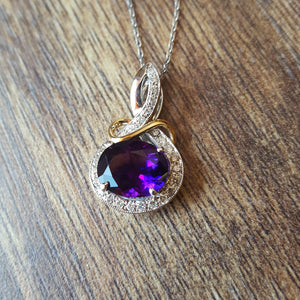 """Octavia"" 14k Gold Arizona Amethyst Necklace"