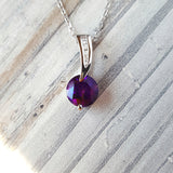 """Sadie"" 14k White Gold Arizona Amethyst Necklace"