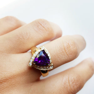 """Vivian"" 14k Yellow Gold Arizona Amethyst Ring"