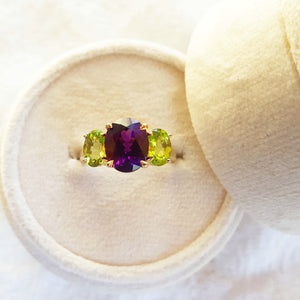 Three Stone Arizona Amethyst and Peridot Ring