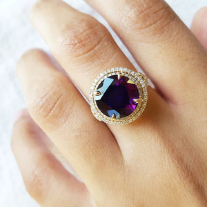 """Elodia"" 14K Double Halo Amethyst Ring"