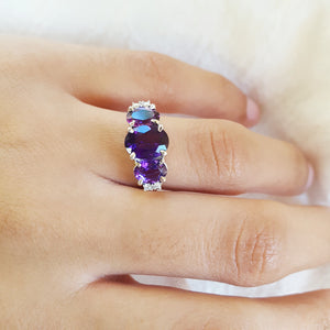 Three-Stone Amethyst Anniversary Ring