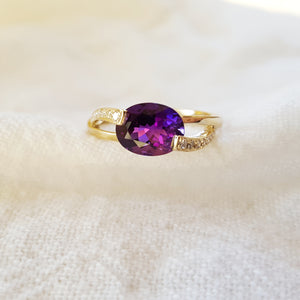 """Lyla"" 14K Yellow Gold AZ Amethyst Ring"