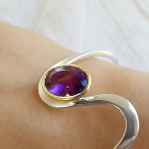 """Emberly"" Sterling Silver & 14K Yellow Gold Arizona Amethyst Bracelet"