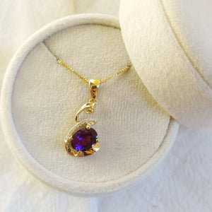 """Reyna"" 14k Yellow Gold Four Peaks Amethyst Necklace"