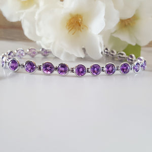 """Liv"" 14K White Gold Arizona Amethyst Bracelet"