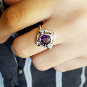 """Cadence"" 14k White Gold Amethyst Compass Ring"
