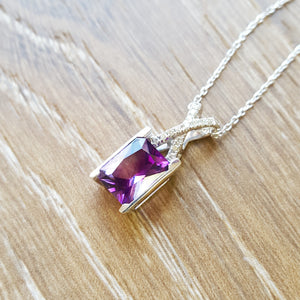 """Lynn"" Arizona Amethyst and Diamond Pendant"